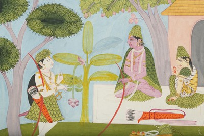 Lot 28 - AN ILLUSTRATION TO A RAMAYANA SERIES: RAMA, SITA AND LAKSHMANA IN THEIR FOREST ABODE