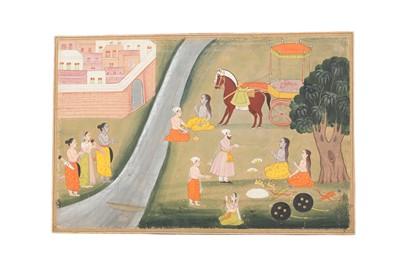 Lot 29 - AN ILLUSTRATION TO A RAMAYANA SERIES: RAMA, SITA AND LAKSHMANA RETURNING TO AYODHYA
