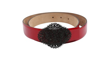 Lot 26 - Valentino Red Lace Buckle Belt - Size 80
