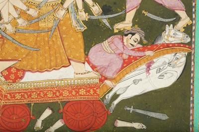Lot 30 - AN ILLUSTRATION FROM A BHAGAVATA PURANA SERIES: PARASHURAMA IN COMBAT WITH KARTAVIRYA ARJUNA