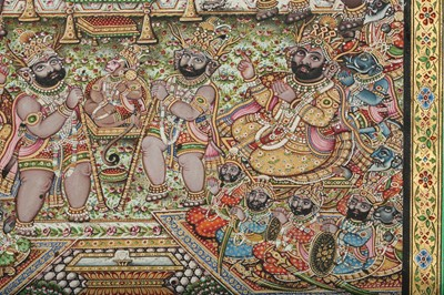 Lot 31 - AN ILLUSTRATION TO A RAMAYANA SERIES: HANUMAN BEFORE THE EVIL KING OF LANKA RAVANA