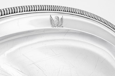 Lot 499 - A George III sterling silver meat dish, London 1808 by William Frisbee (first reg. 12th April 1791)