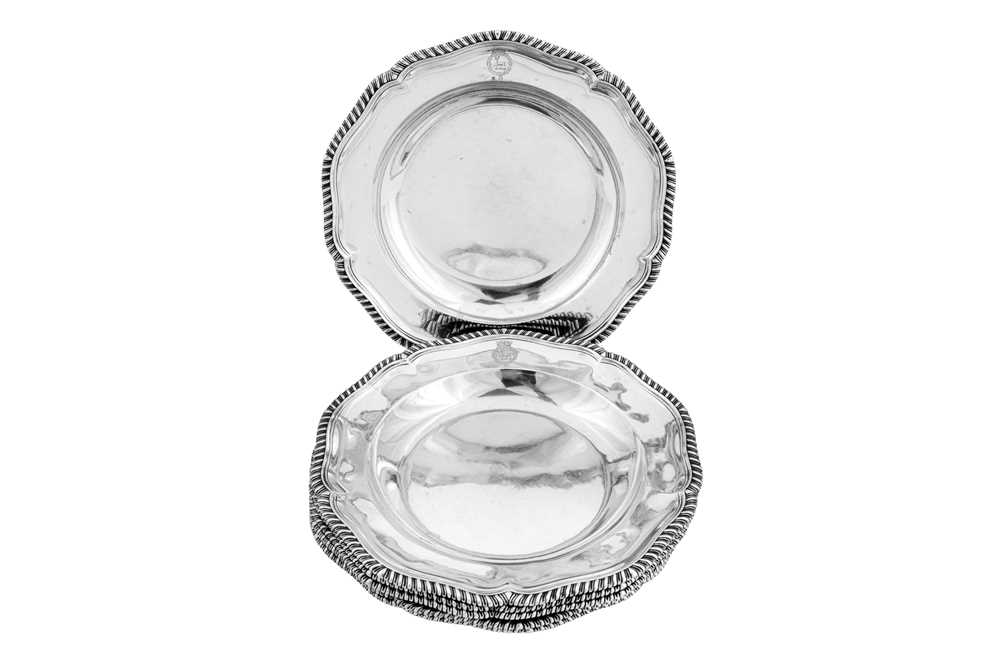 Lot 500 - A set of six George III sterling silver soup dishes, London 1777 by John Wakelin & William Taylor (reg. 25th Sep 1776)