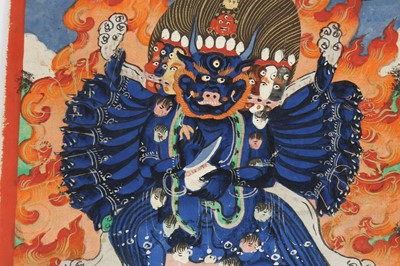 Lot 40 - TWELVE BUDDHIST DEVOTIONAL PAINTED ICONS AND AUSPICIOUS SYMBOLS