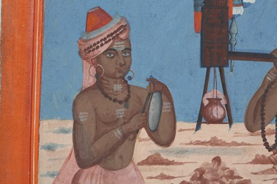 Lot 41 - A SOUTH INDIAN PANDIT AND HIS DISCIPLE ON THEIR WAY TO WORSHIP