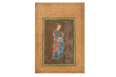 Lot 44 - SEVEN PROVINCIAL SAFAVID-REVIVAL PAINTINGS AT COURT AND STANDING PORTRAITS