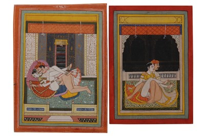 Lot 1029 - NINE INDIAN DECORATIVE PAINTINGS OF EROTIC CONTENT