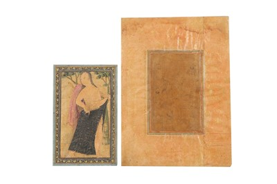 Lot 51 - TWO PERSIAN DRAWINGS: A COURTLY GATHERING AND A BATHING LADY