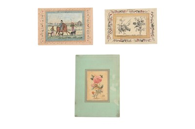 Lot 52 - TWO LOOSE MURAQQA' ALBUM PAGES WITH FLORAL MOTIFS