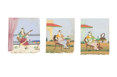 Lot 53 - THREE PORTRAITS OF SEATED COURTLY LADIES