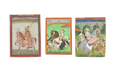 Lot 55 - THREE EQUESTRIAN PORTRAITS OF INDIAN RULERS