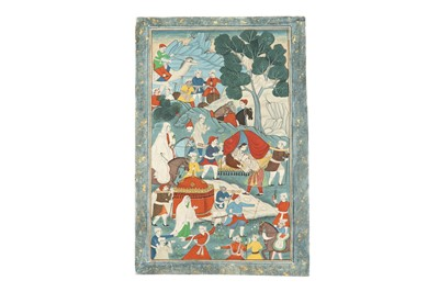 Lot 63 - A GROUP OF FOUR PROVINCIAL LATE INDIAN PAINTINGS FOR THE EXPORT MARKET
