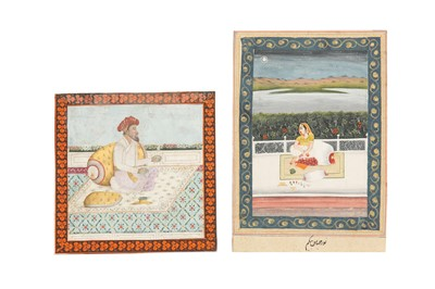 Lot 70 - TWO PORTRAITS: AN ELDERLY INDIAN RULER AND A COURTLY LADY ON PALATIAL TERRACES