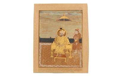 Lot 76 - A SERIES OF SIX PORTRAITS OF ENTHRONED MUGHAL EMPERORS
