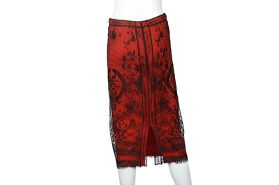 Lot 16 - Hermes Red H logo Lace Skirt - Size