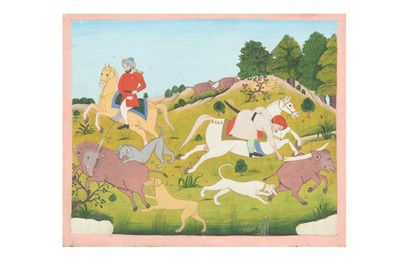 Lot 78 - THREE MUGHAL-REVIVAL HUNTING SCENES FOR THE EXPORT MARKET