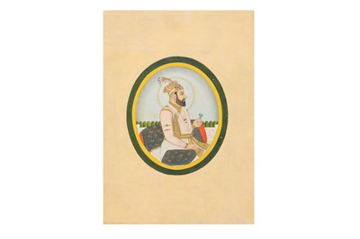 Lot 80 - AN OVAL PORTRAIT OF A MUGHAL EMPEROR