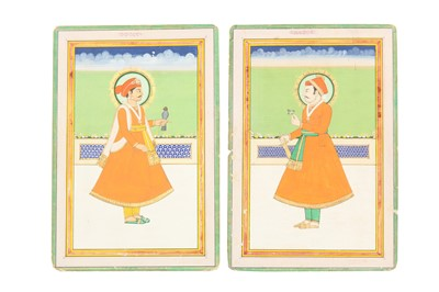 Lot 81 - FOUR STANDING PORTRAITS OF RAJASTHANI RULERS