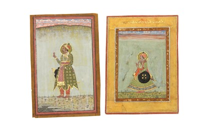 Lot 87 - TWO STANDING PORTRAITS OF INDIAN NOBLEMEN