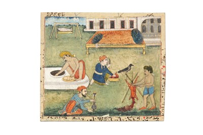 Lot 93 - A VILLAGE SCENE AND TWO PAINTINGS OF YOGIS
