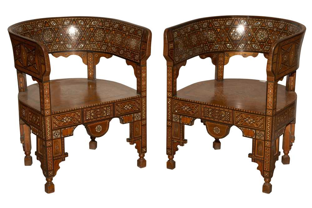 Lot 46 - A PAIR OF SYRIAN HARDWOOD, MOTHER OF PEARL AND MARQUETRY INLAID ARMCHAIRS