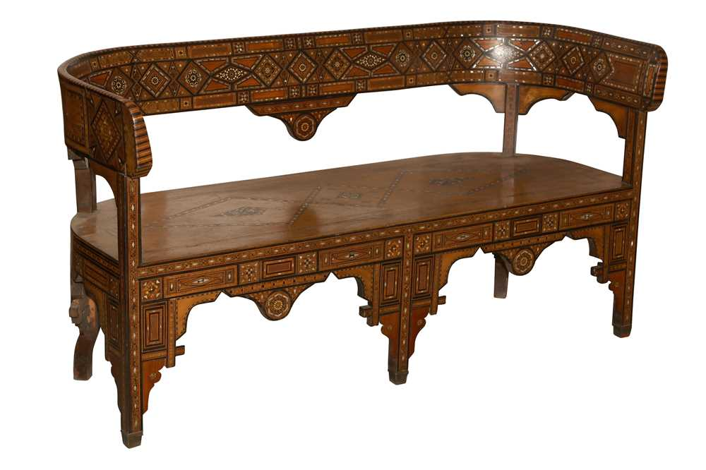Lot 45 - A SYRIAN HARDWOOD, MOTHER OF PEARL AND MARQUETRY INLAID SETTLE, EARLY 20TH CENTURY