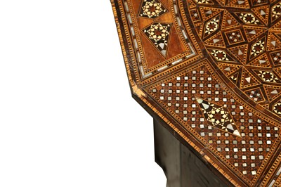 Lot 47 - A SYRIAN HARDWOOD, MOTHER OF PEARL AND MARQUETRY INLAID OCCASIONAL TABLE, EARLY 20TH CENTURY