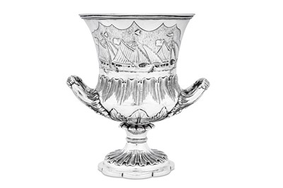 Lot 486 - Yachting interest – A William IV sterling silver trophy goblet, London 1834 by Richard Pearce & George Burrows