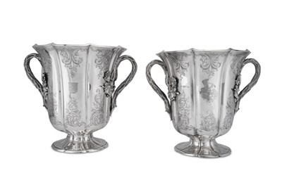Lot 484 - A pair of early Victorian sterling silver wine coolers, London 1844 by Benjamin Smith