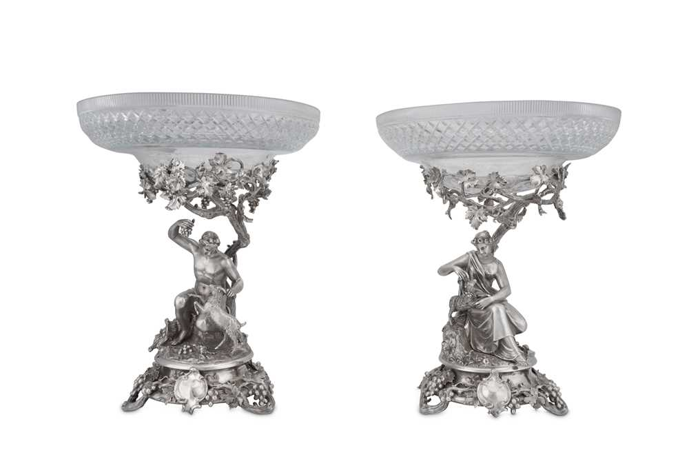 Lot 485 - A fine pair of Victorian sterling silver sculptural comports or tazza, London 1848 by John Samuel Hunt