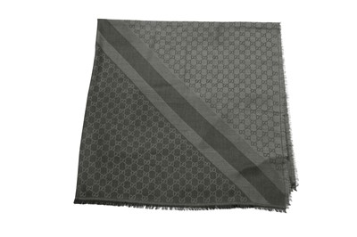 Lot 85 - Gucci Dark Grey Monogram Jacquard Scarf
