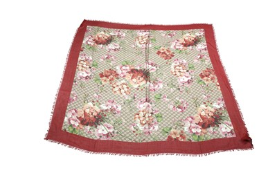 Lot 20 - Gucci Red Monogram Blooms Scarf