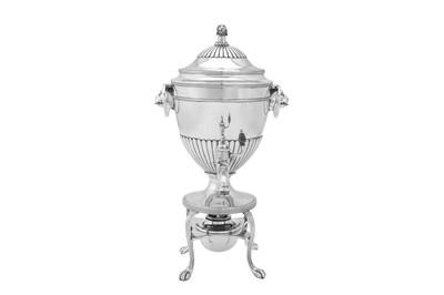 Lot 514 - A George III sterling silver coffee urn, London 1794 by Henry Chawner (reg. 11th Nov 1786)