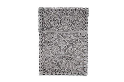Lot 13 - A Victorian sterling silver card case, Birmingham 1869 by Fredrick Elkington