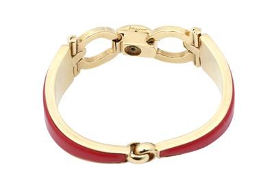 Lot 25 - Ferragamo Red Leather Gancini Cuff Bracelet