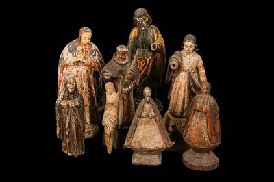 Lot 14 - AN 18TH CENTURY PORTUGUESE COLONIAL FIGURE OF THE VIRGIN TOGETHER WITH SEVEN FURTHER FIGURES