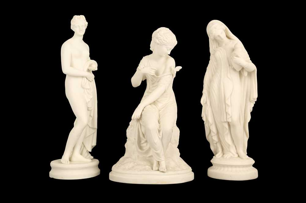 Lot 176 - THREE 19TH CENTURY BISCUIT PORCELAIN FIGURES OF MAIDENS