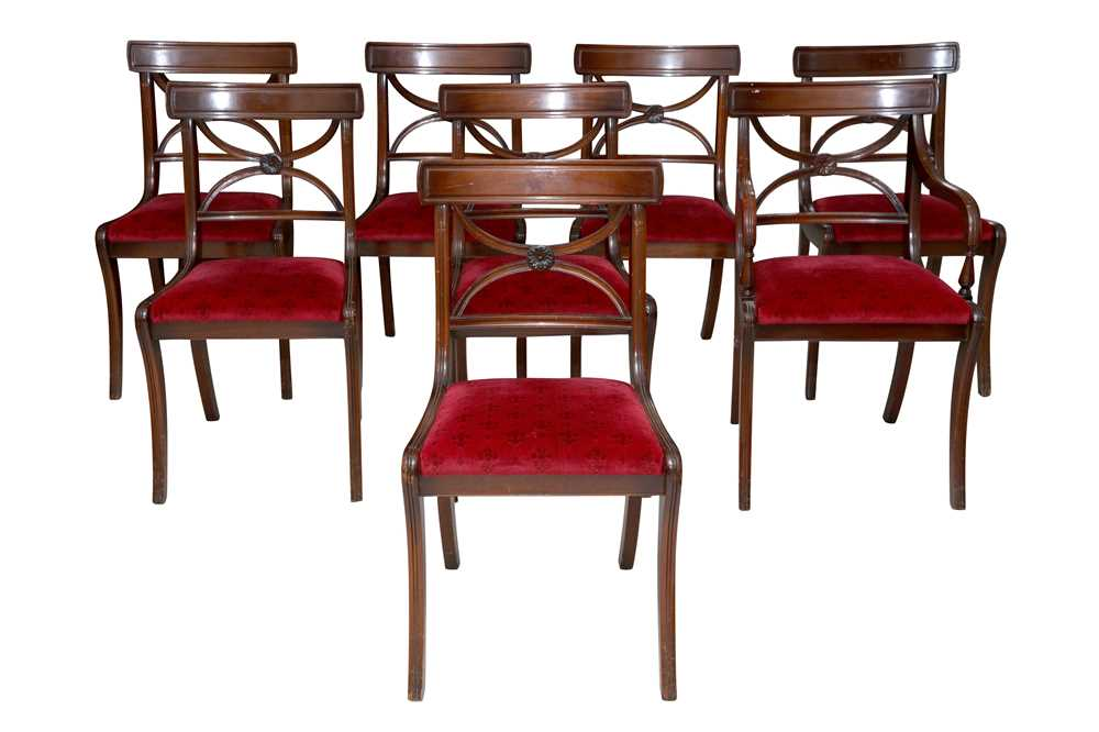 Lot 28 - A SET OF EIGHT REGENCY STYLE MAHOGANY BAR BACK DINING CHAIRS, LATE 20TH CENTURY