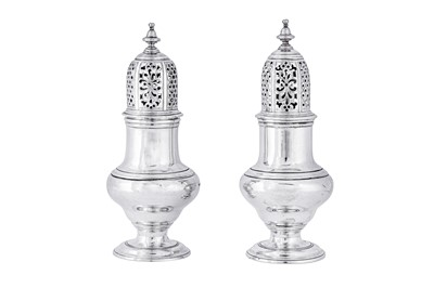 Lot 475 - A pair of George II sterling silver pepper casters, London 1743 by Samuel Wood (first reg. 3rd July 1733)