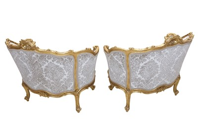 Lot 3 - A PAIR OF ROCOCCO STYLE LOUIS XV STYLE SALON CHAIRS