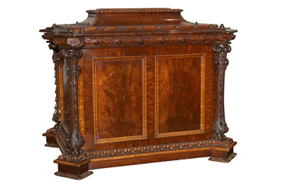 Lot 15 - A LARGE MID VICTORIAN FIGURED MAHOGANY AND BIRDS EYE MAPLE CELLARETTE