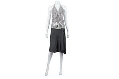 Lot 78 - Lanvin Grey Wrap Skirt and Silver Halter Neck Top - Size 38 & 36