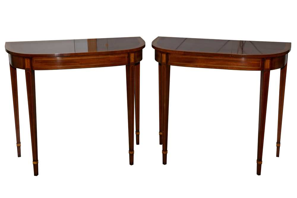 Lot 11 - A PAIR OF SHERATON STYLE MAHOGANY AND SATINWOOD INLAID DEMI LUNE SIDE TABLES, LATE 20TH CENTURY
