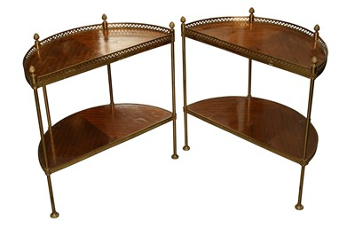 Lot 25 - A PAIR OF FRENCH MAHOGANY TWO TIER ETAGERES, 20TH CENTURY