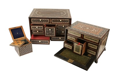 Lot 39 - A LATE 17TH / EARLY 18TH CENTURY INDO-PORTUGUESE ROSEWOOD AND IVORY TABLE CABINET