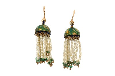 Lot 243 - A PAIR OF INDIAN CHHAJJA EARRINGS CAPARISONED WITH SEED PEARLS