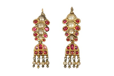Lot 242 - A PAIR OF RUBY AND SPINEL-ENCRUSTED EARRINGS