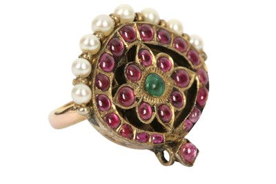 Lot 241 - A PEARL, RUBY AND SPINEL-ENCRUSTED RING