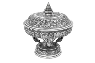 Lot 220 - A LARGE SILVER REPOUSSÉ LIDDED CEREMONIAL TRAY OR BASIN (TOK)