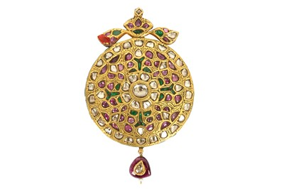 Lot 240 - A RUBY AND SPINEL-ENCRUSTED POLYCHROME-ENAMELLED GOLD PENDANT